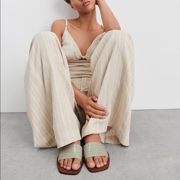 Zara Faux Leather Slide Sandals